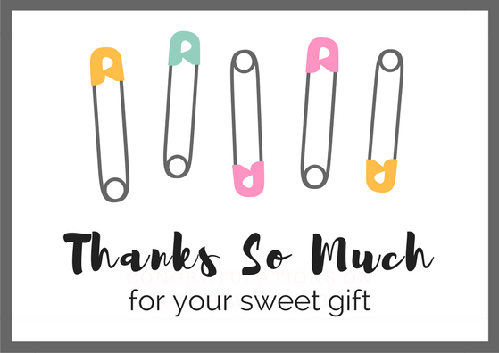 Baby Gift Thank You Note : Baby shower thank you card wording free printables