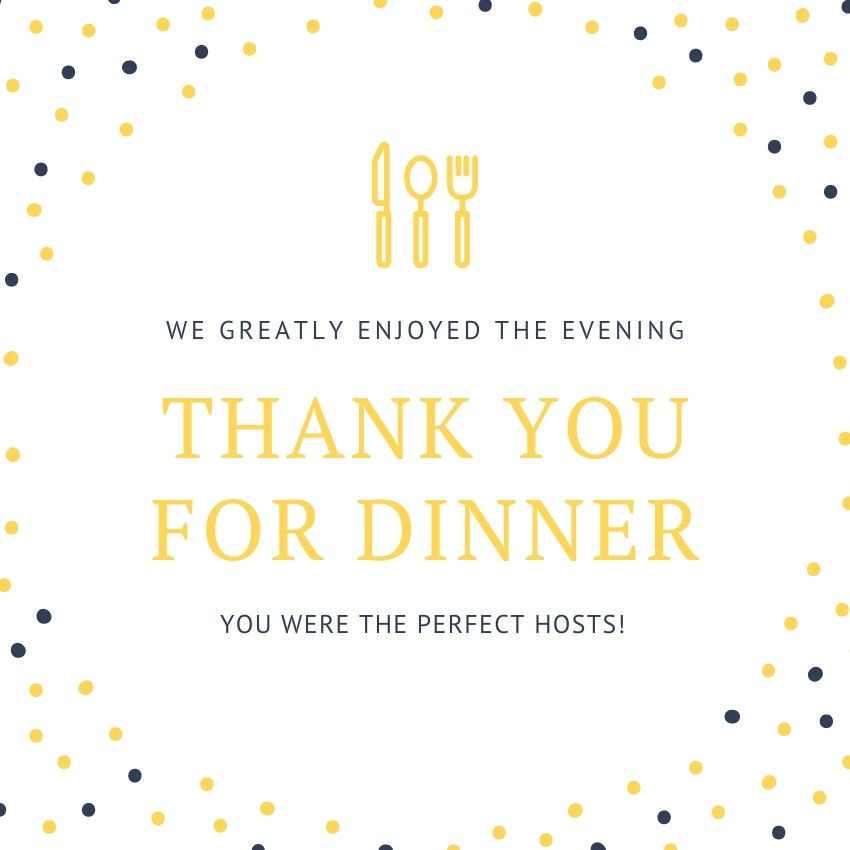A dinner thank you card with gold and navy blue lettering.