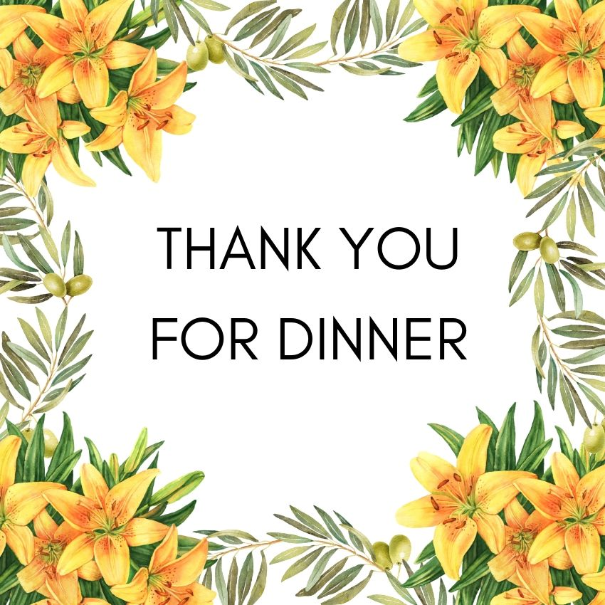 Thank you note for dinner on a thank you card styled with Hawaiian flowers at the corners.