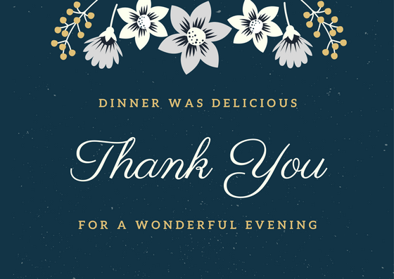 Dinner Thank You Notes FREE Thank You Card Wording