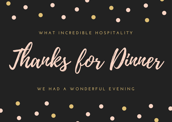 Dinner Thank You Card Wording Examples