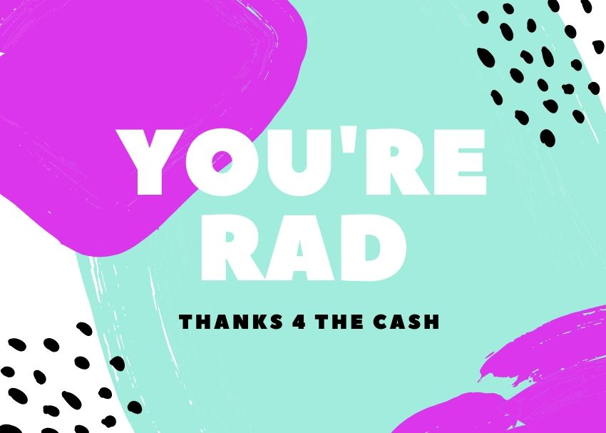 Thanks for the Cash Thank You Card