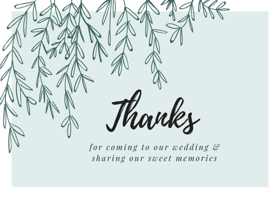 free printable wedding thank you card