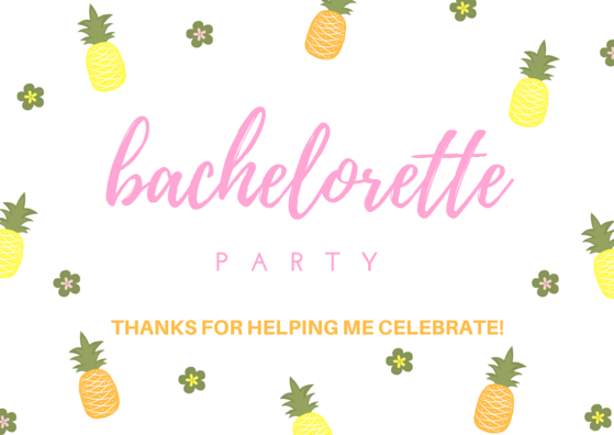 Bachelorette Party Thank You Card