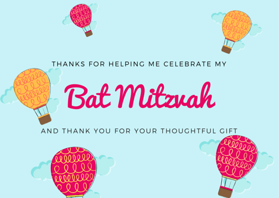 Bat Mitzvah Thank You Card