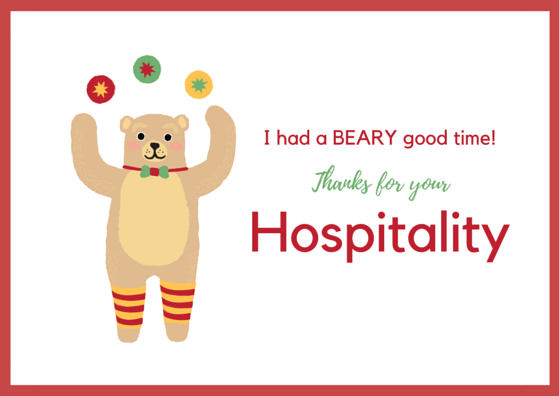 Hospitality Thank You Card