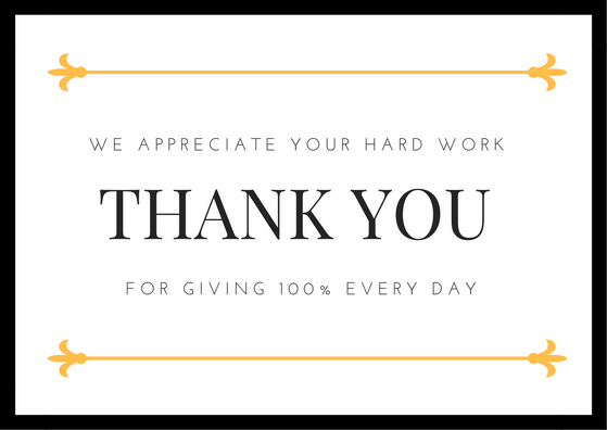 Employee Appreciation Thank You Note