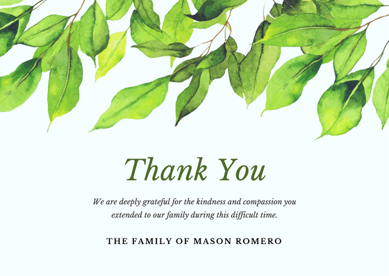 Bereavement Thank You Notes – Funeral Thank You Note