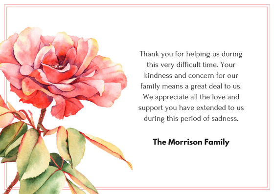 Bereavement Thank You Notes | Funeral Thank You Card Wording