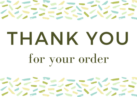 Customer Thank You Note: Thank You For Your Order