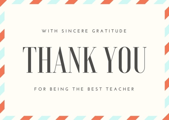 Teacher Graduation Card Thank You Note