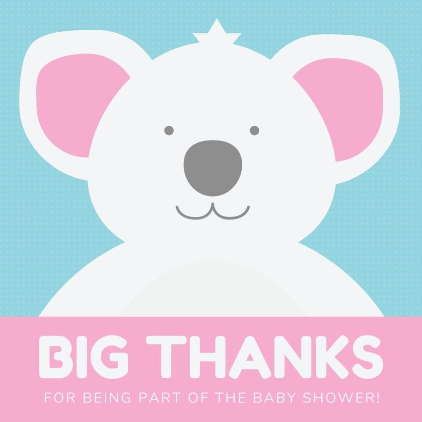 A pink teddy bear image on a baby shower thank you card.
