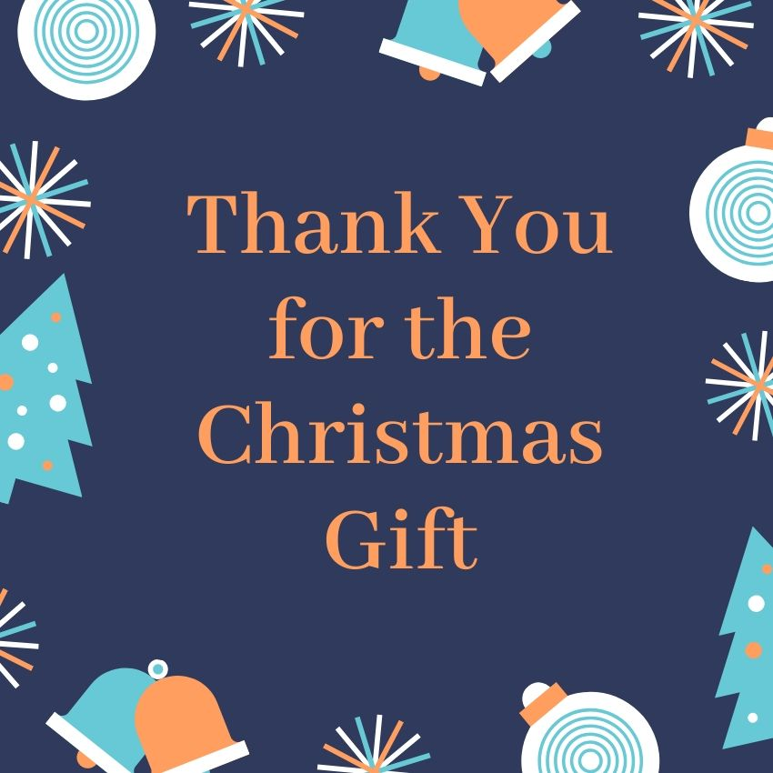 Navy blue Christmas thank you card.